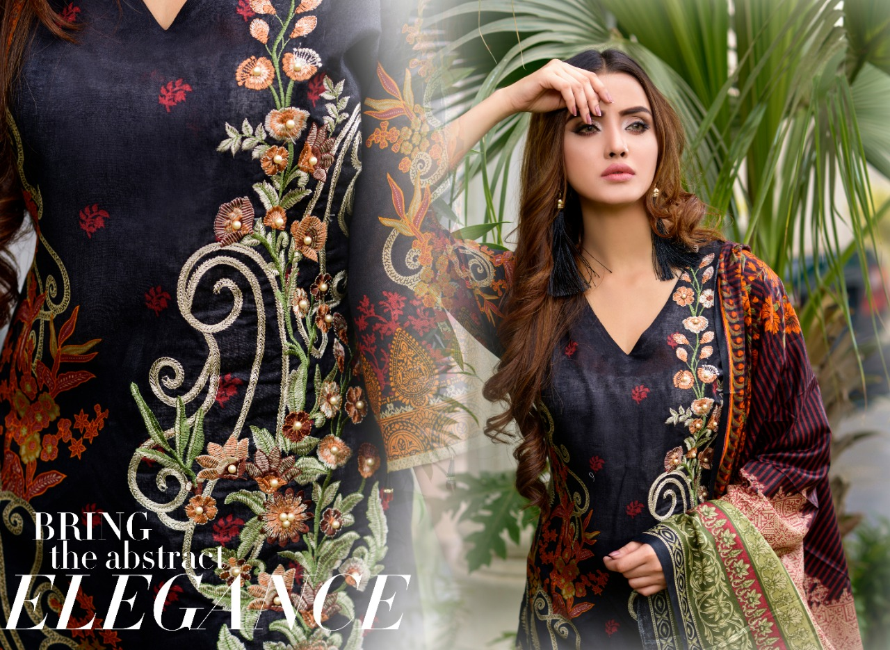 BLACK EMBROIDERED COTTON